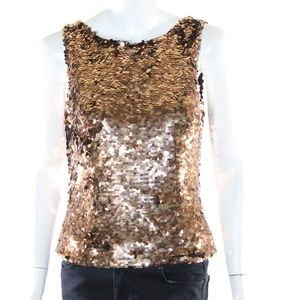 JS Boutique Women's Medium Bronze Sequined Tank